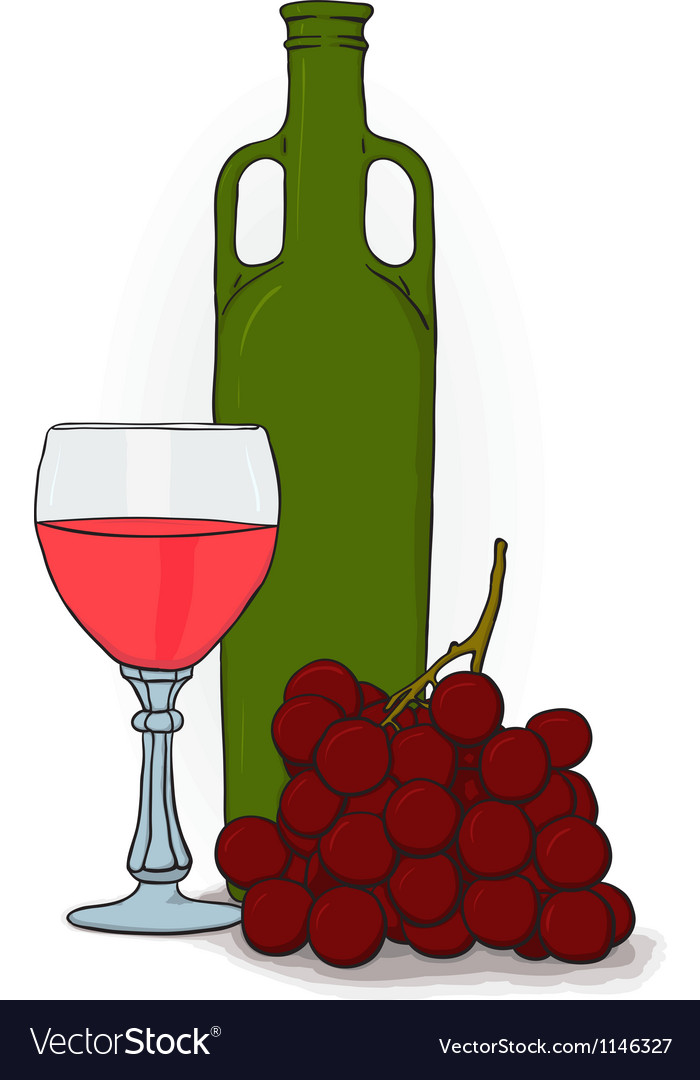 A bottle and a glass of wine and grapes vector