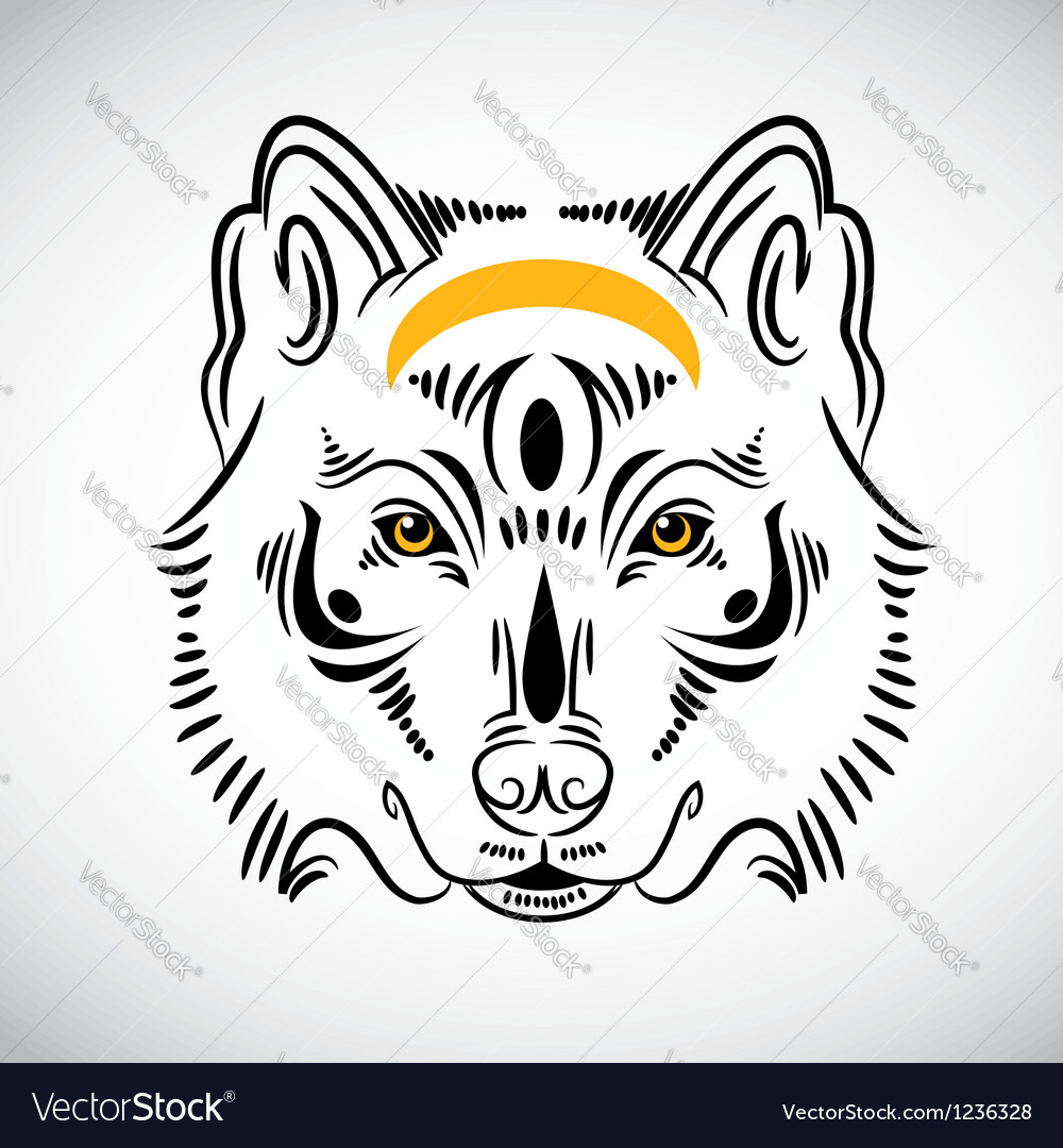 Wolf tattoo stylish ornate vector