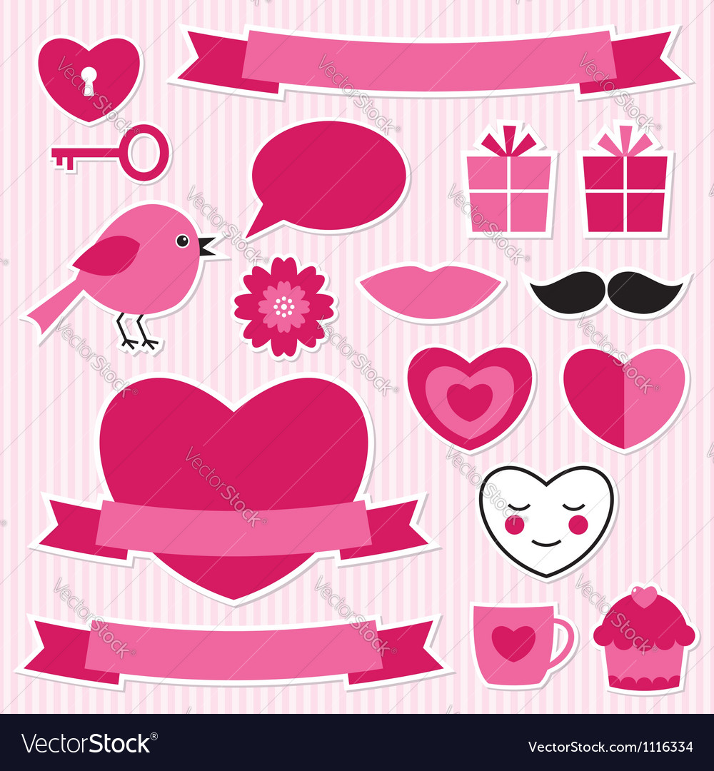Valentines stickers set vector