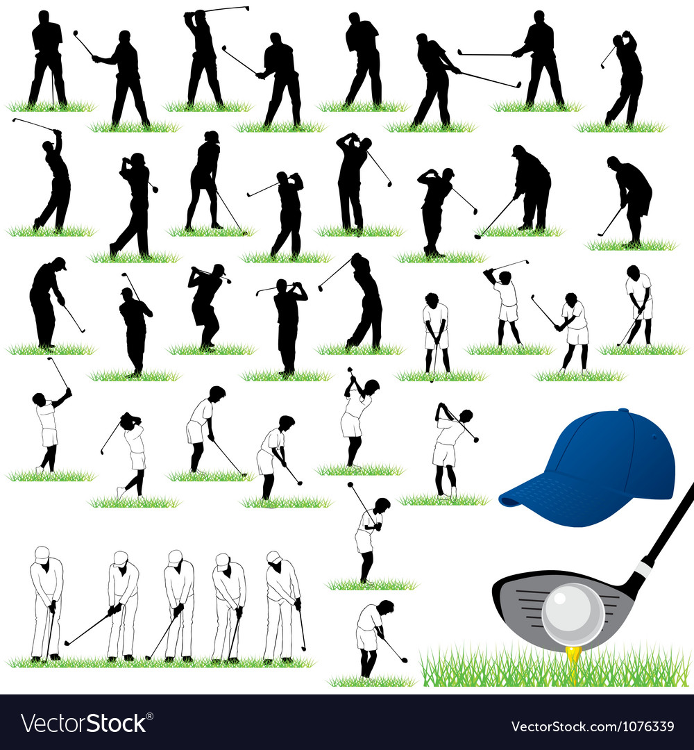 40 detailed golf silhouettes set vector