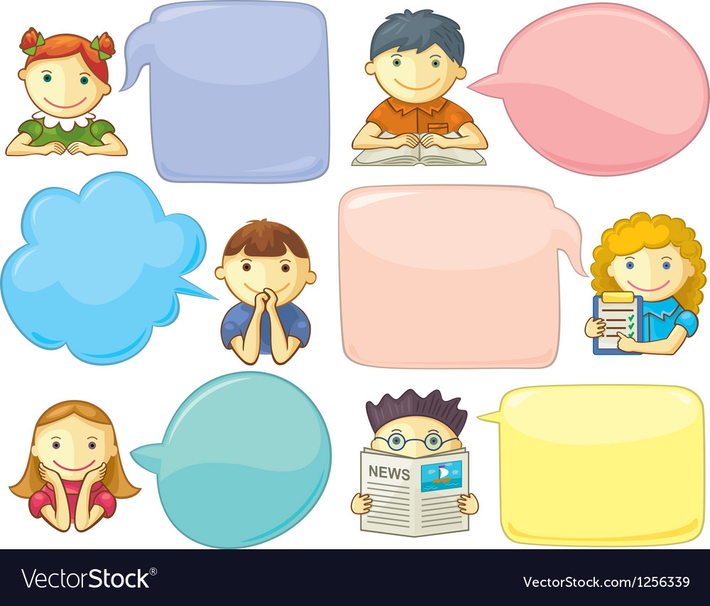Cute personages with speech bubbles vector