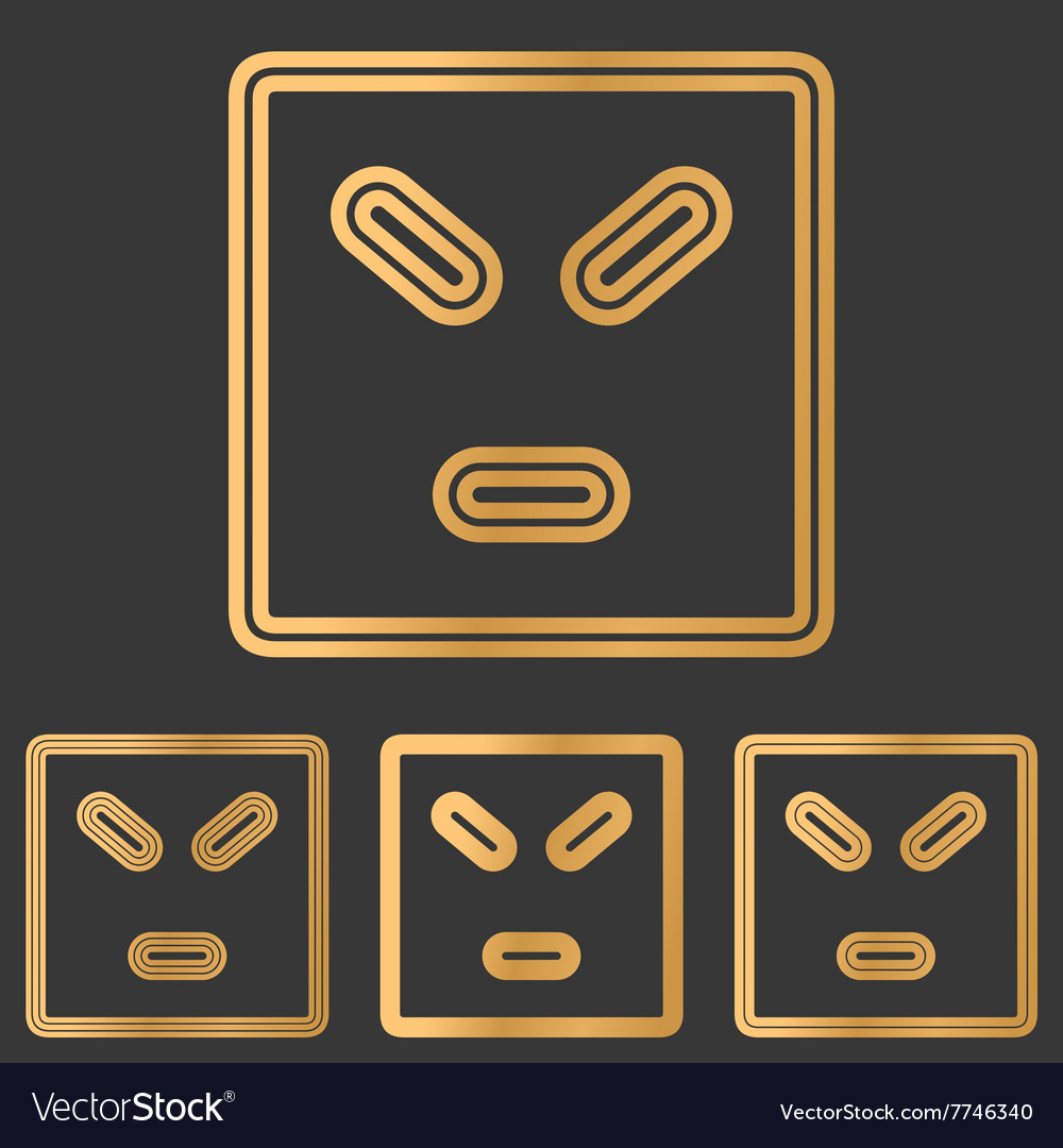 Bronze line anger logo design set
