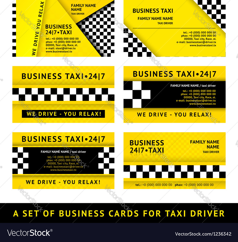 Business card taxi  tenth set vector