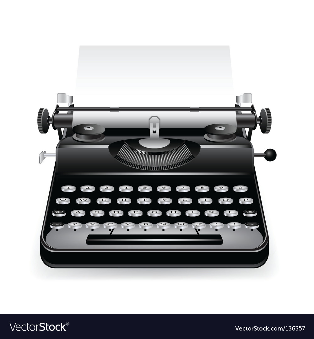 Old typewriter with a paper vector