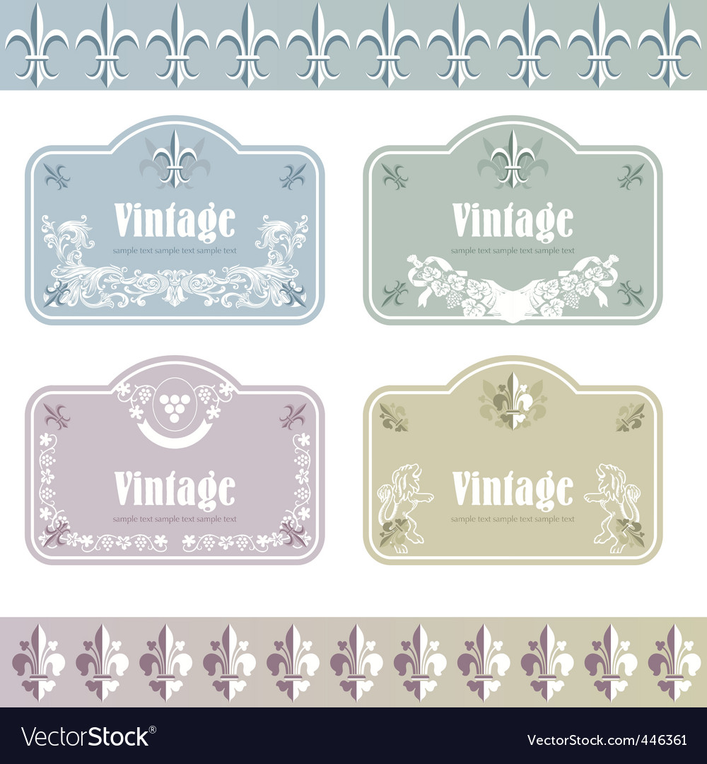 Wine labels04 vector