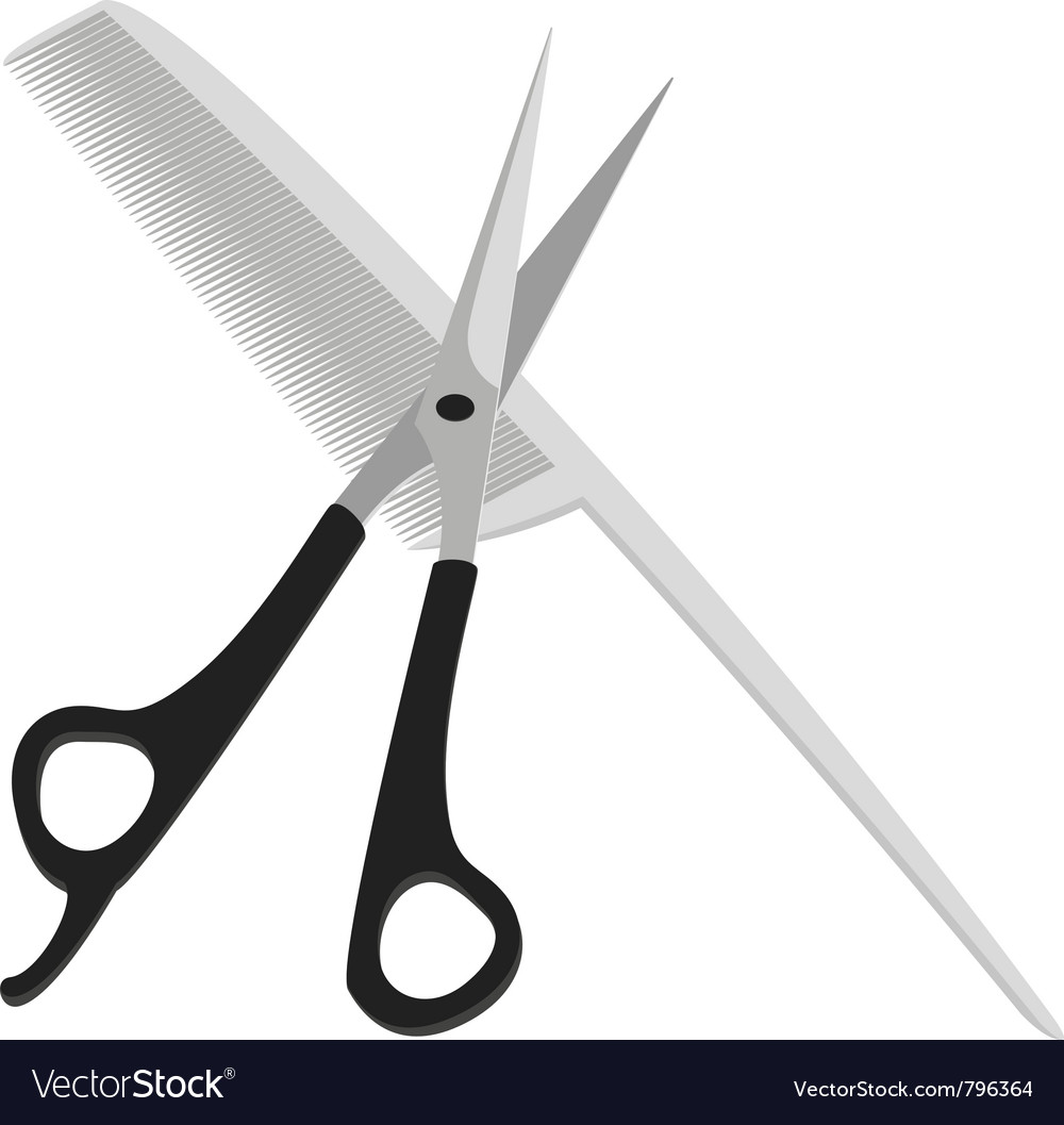 Hairdressing scissors and comb vector