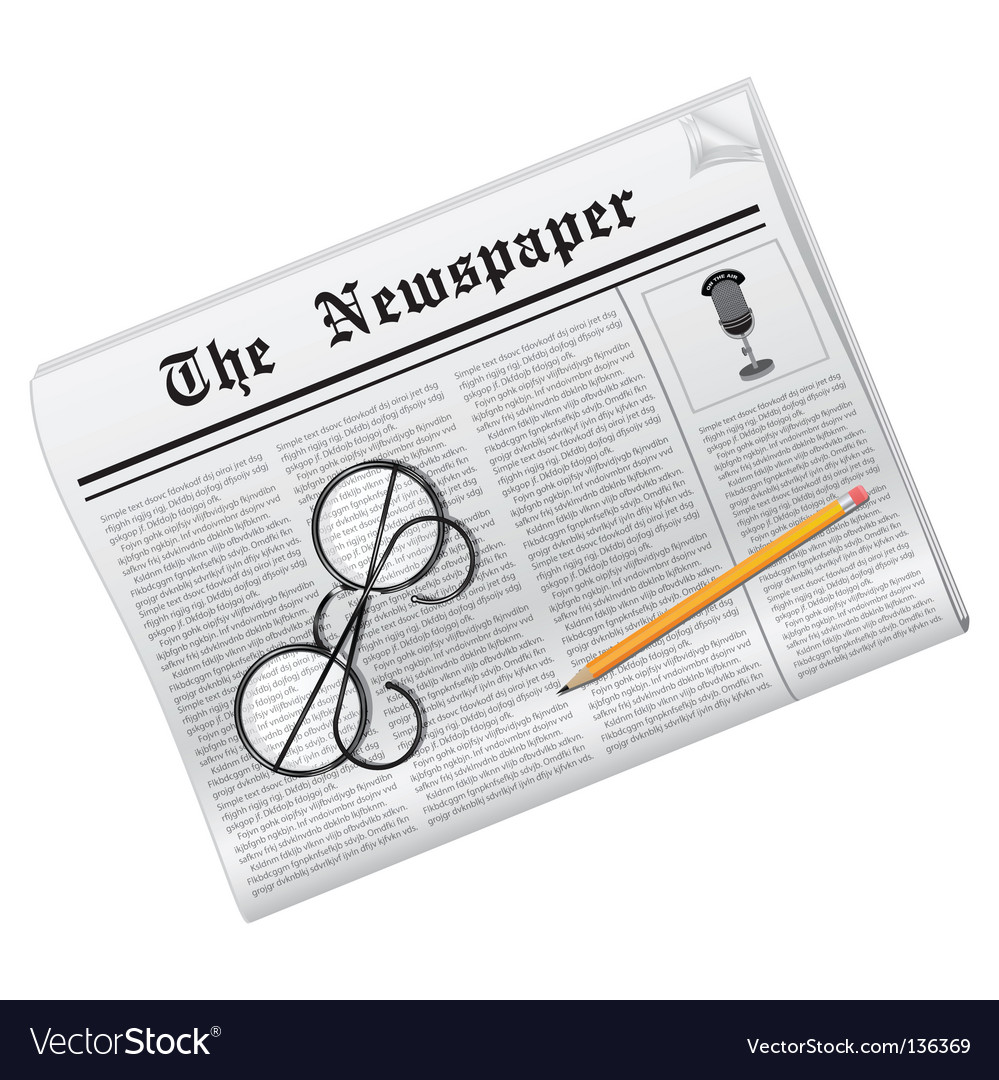 Newspaper glasses and pencil vector