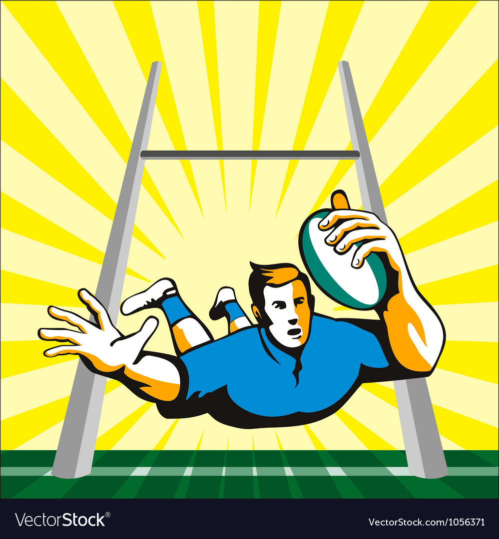 Rugby player scoring try retro vector