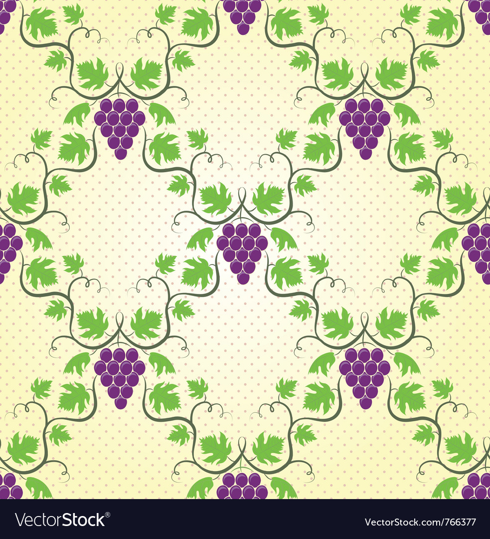 Seamless grape pattern vector