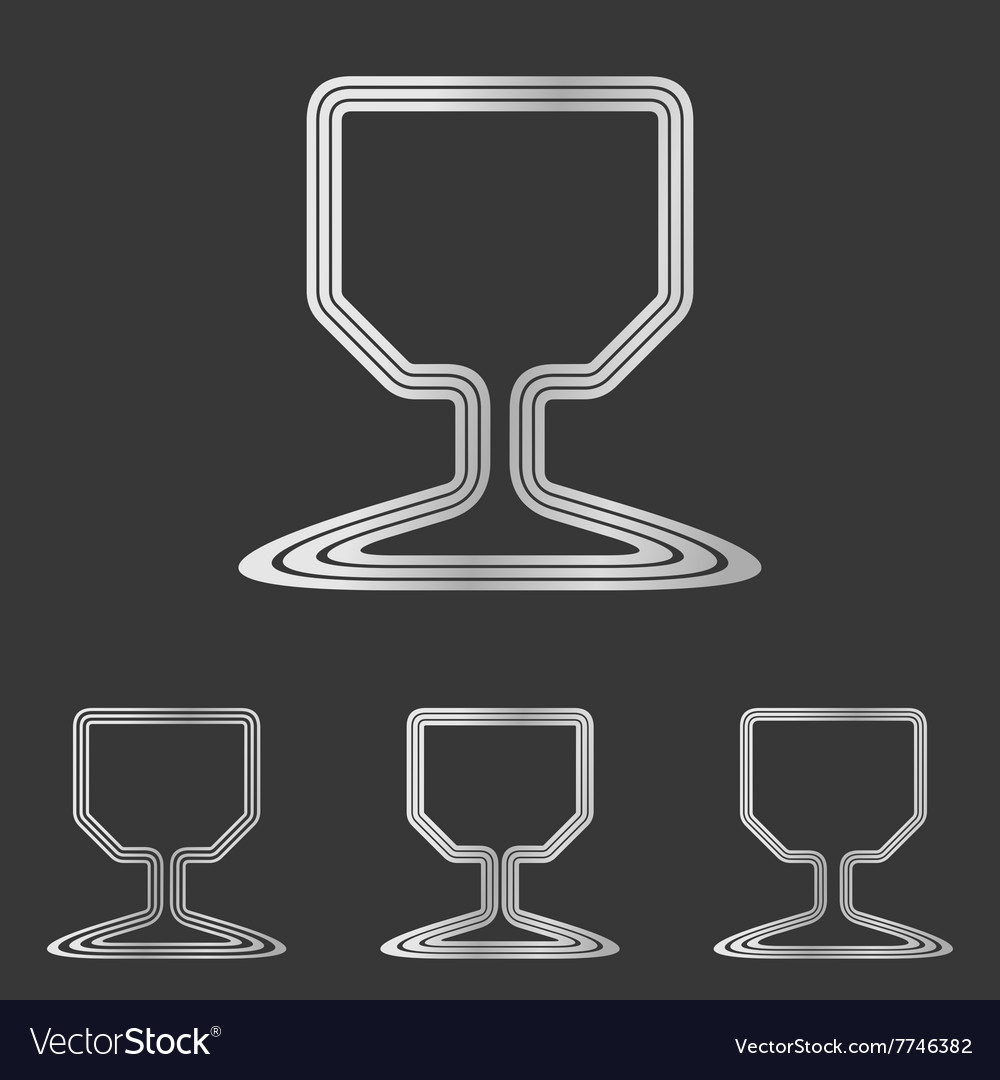 Silver wine glass logo design set