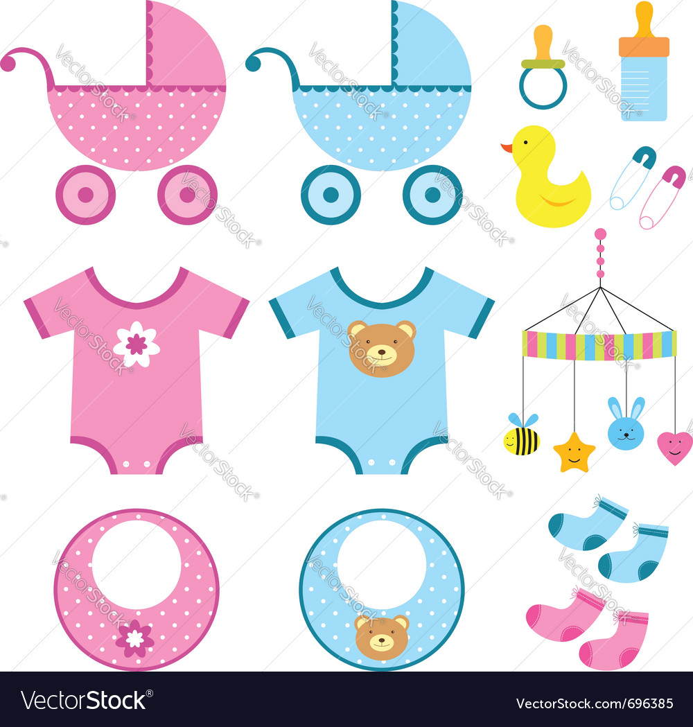 Baby elements set vector
