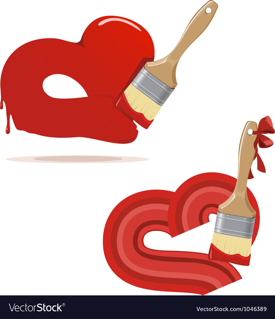 Paintbrush and painted red hearts vector