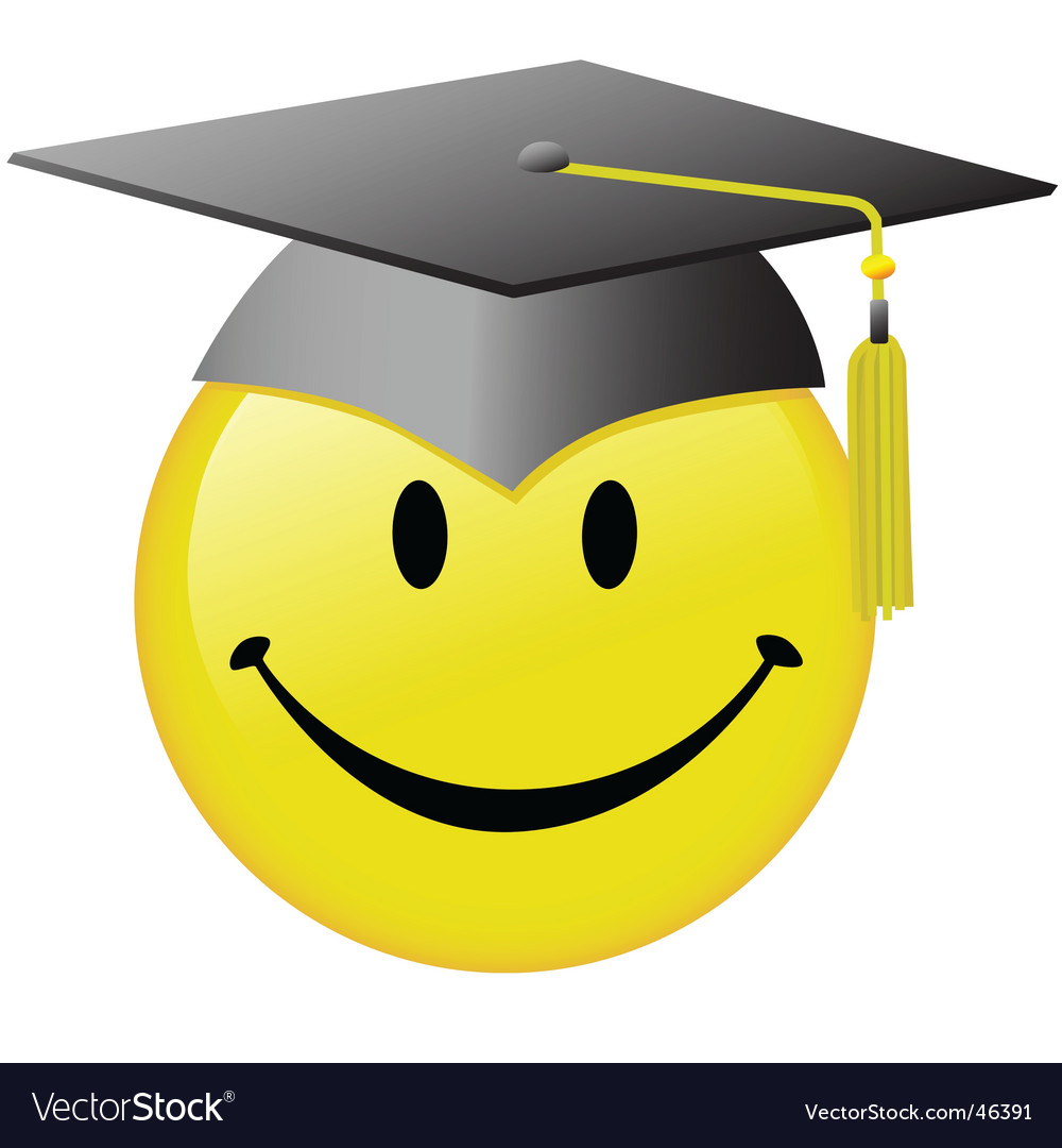 Graduation smiley face vector