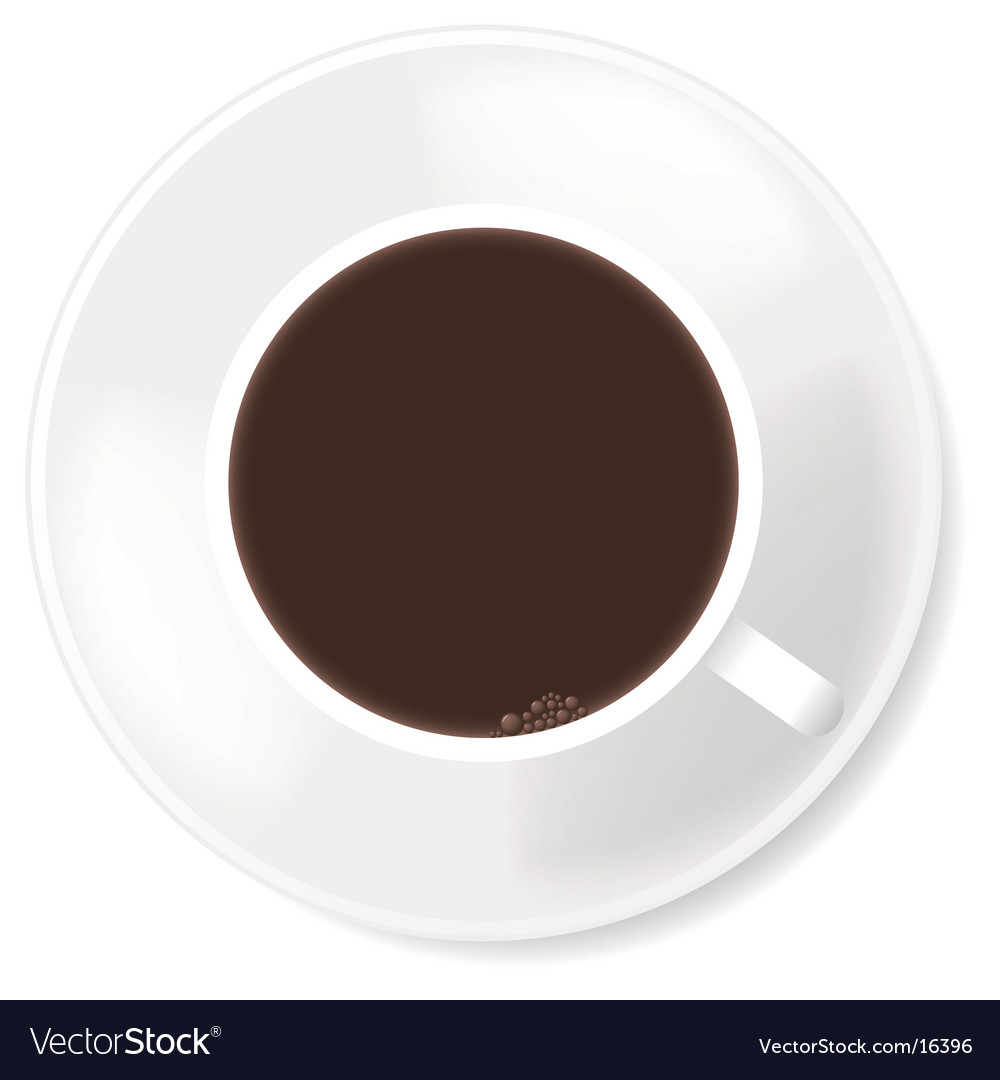 Black coffee in white mug vector