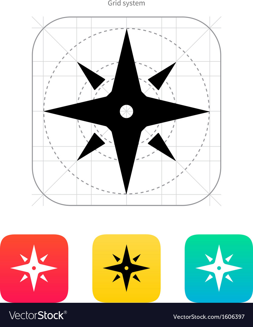 Wind rose icon navigation sign vector