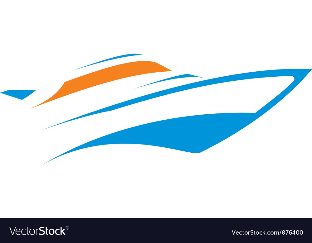Floating yacht vector