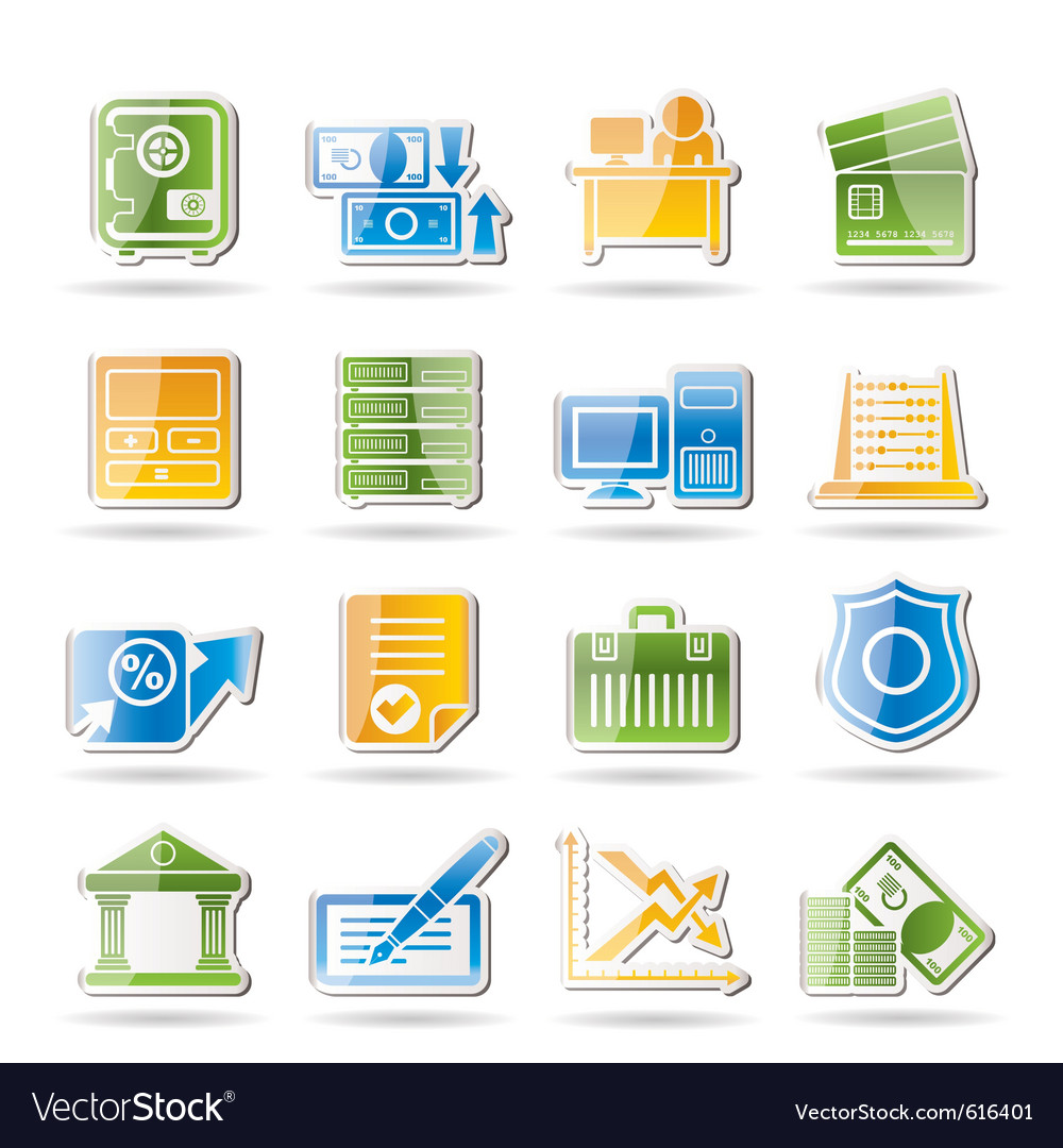 Finance and office icons vector