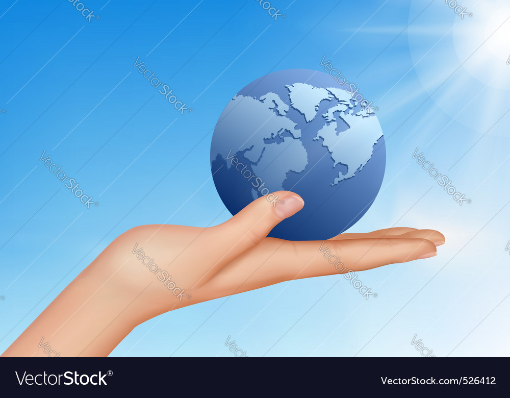 Hand with globe vector