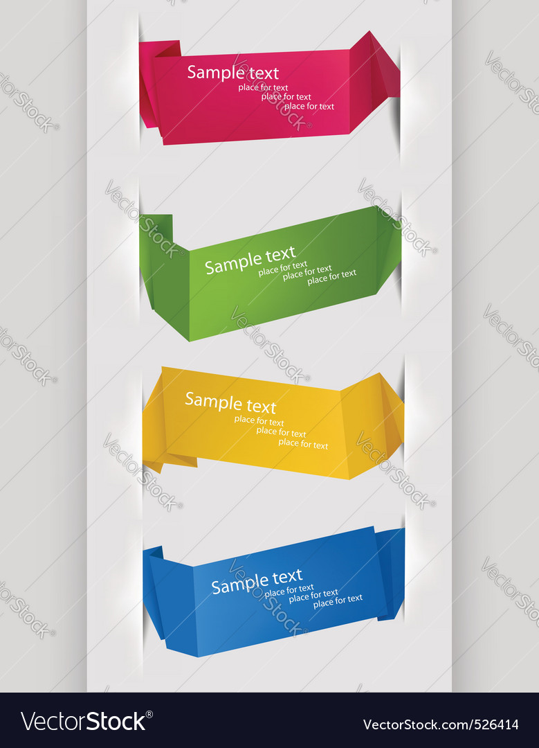 Collection of origami banners vector