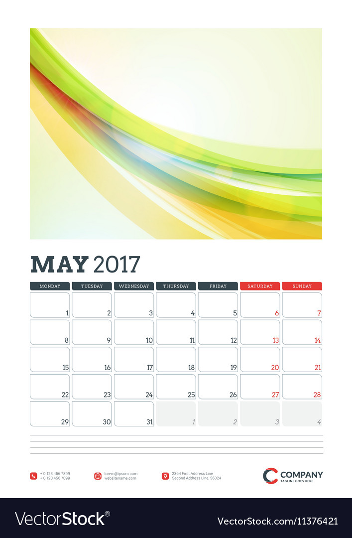 Calendar Planner Vector Free : Wall calendar planner template for year may vector by