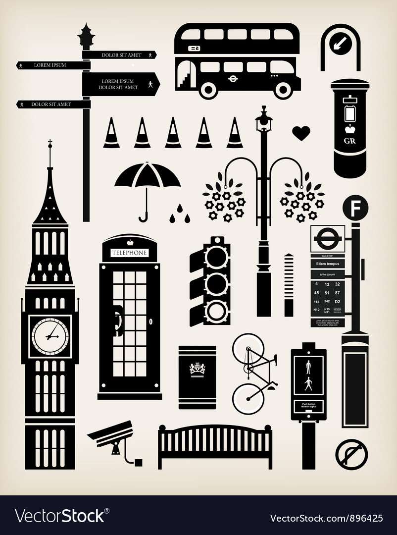 London city street icon set vector