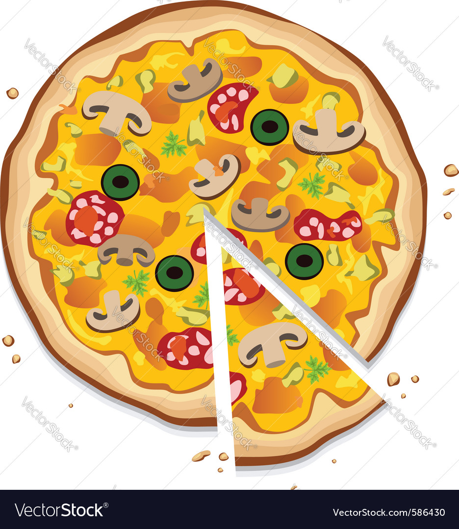 Italian pizza with a slice vector