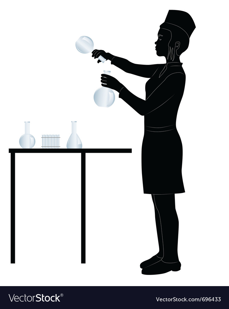 Laboratory assistant silhouette vector