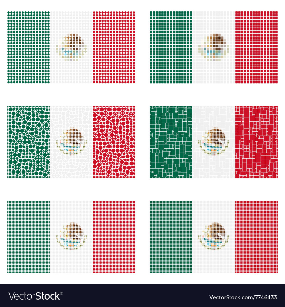 Mosaic mexico flag set