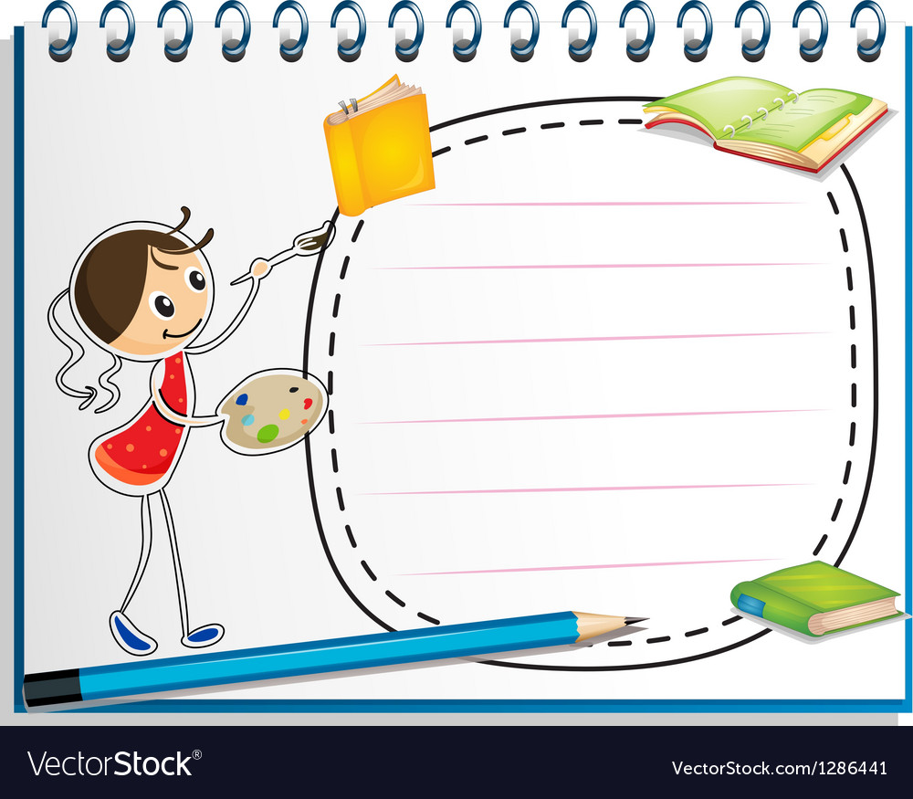 A notebook with a sketch of a young girl painting vector