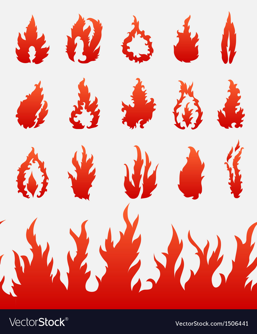 Fire flames icons set vector