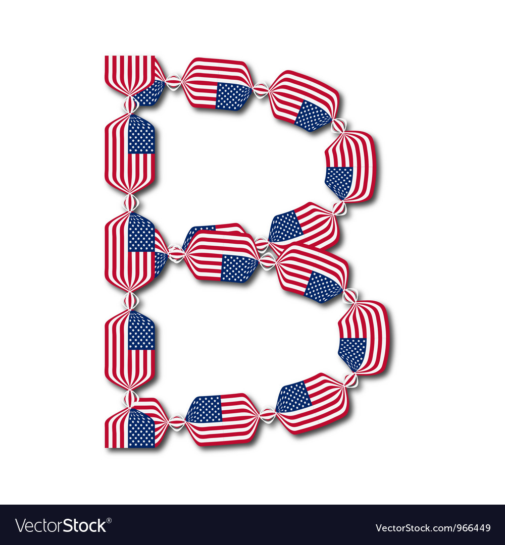Letter b made of usa flags in form of candies vector