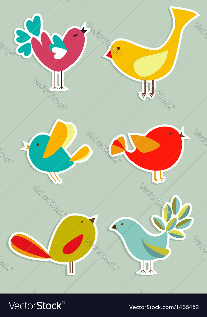 Social media birds set vector