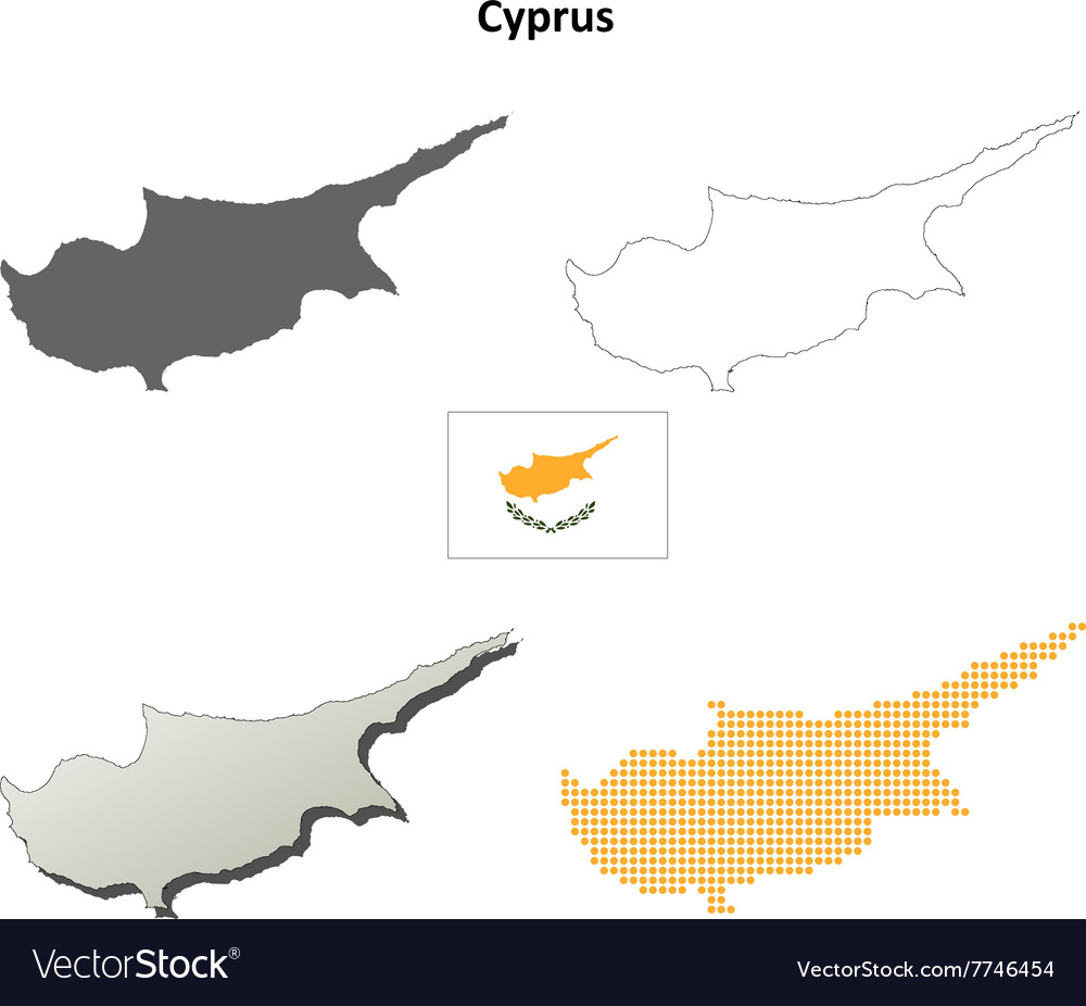 Cyprus outline map set