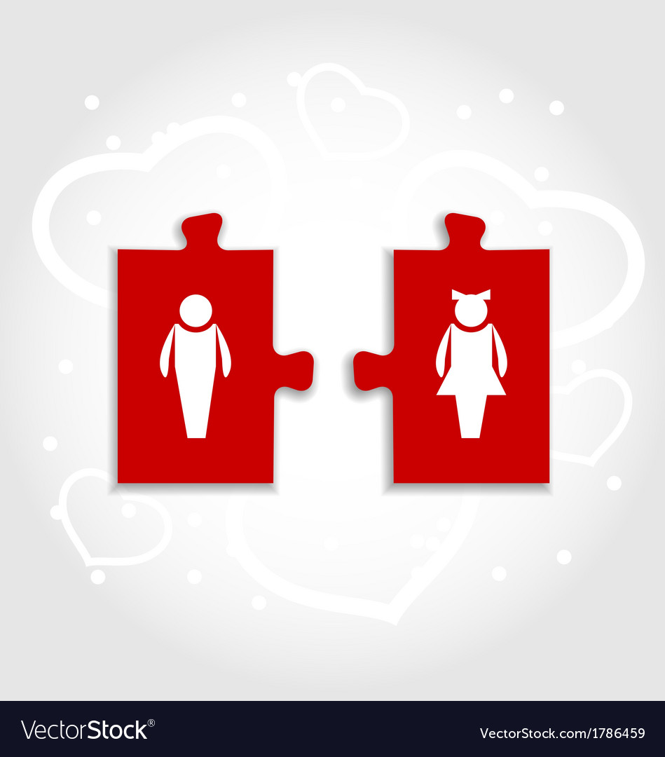 Couple of puzzle human icons for valentines day