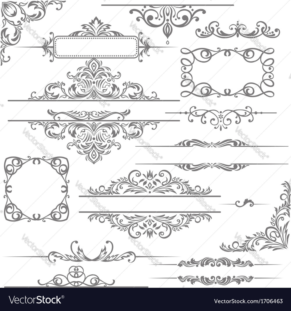 Set calligraphic design elements and page vector
