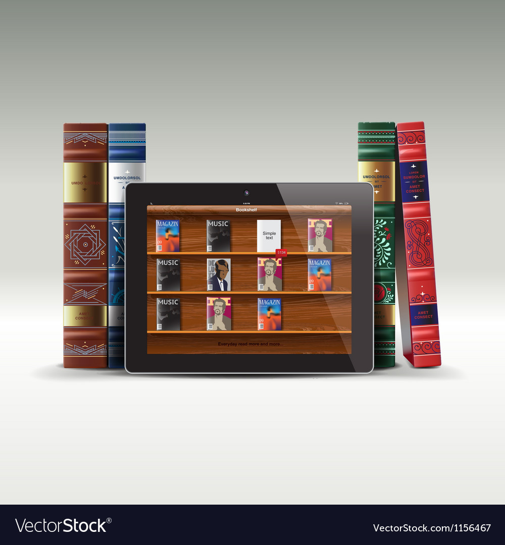 Digital and real books vector