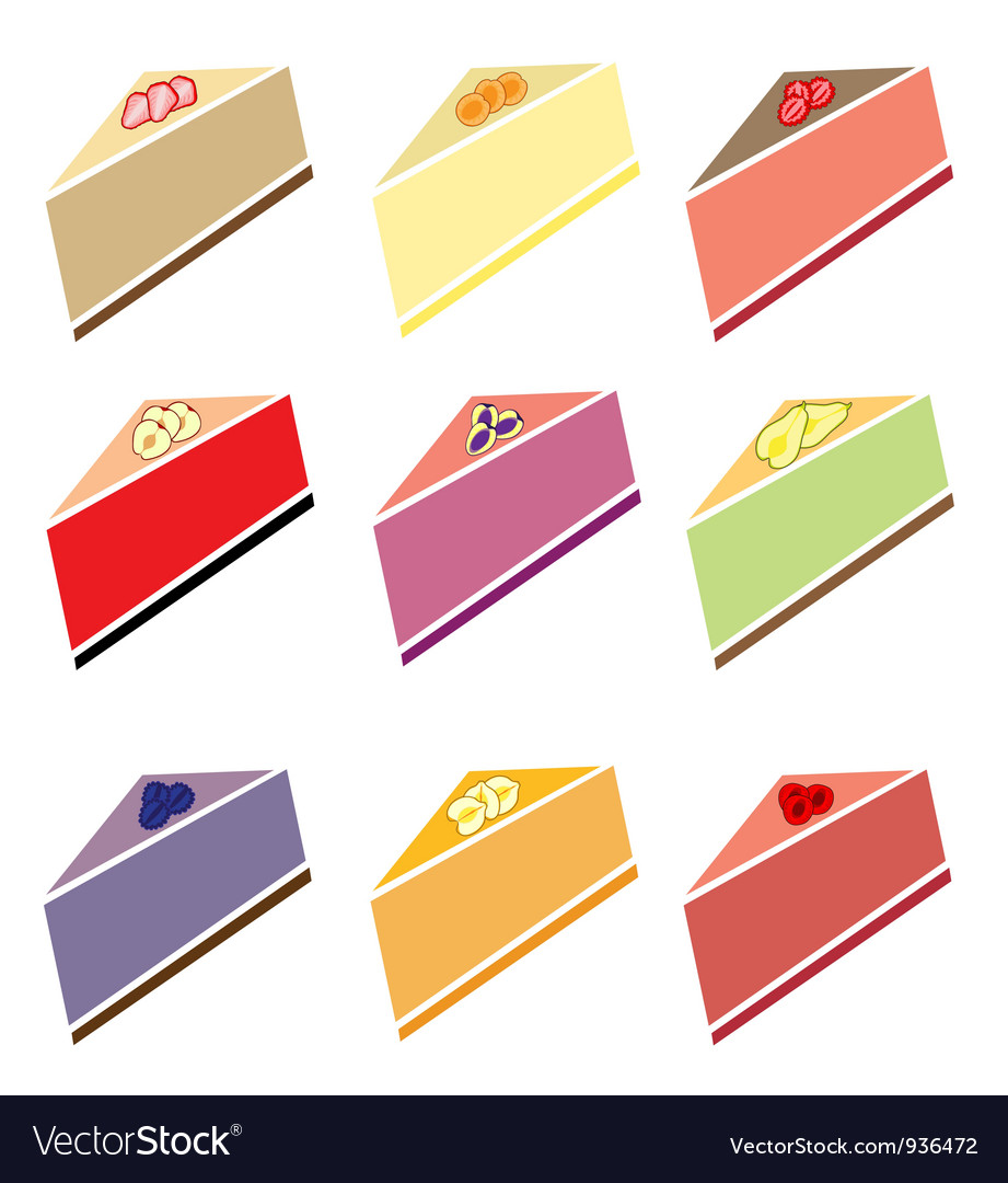 Cheesecakes set vector