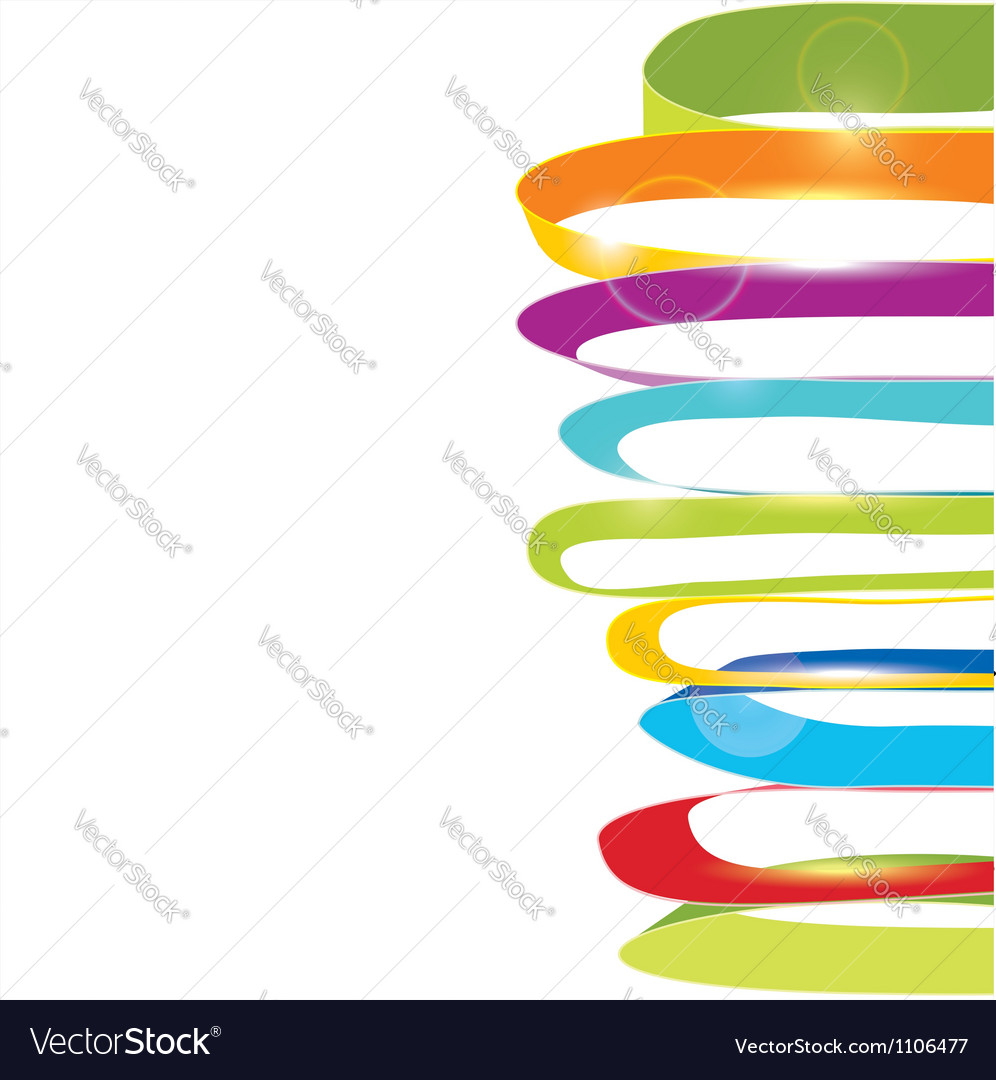 White background with color ribbons vector