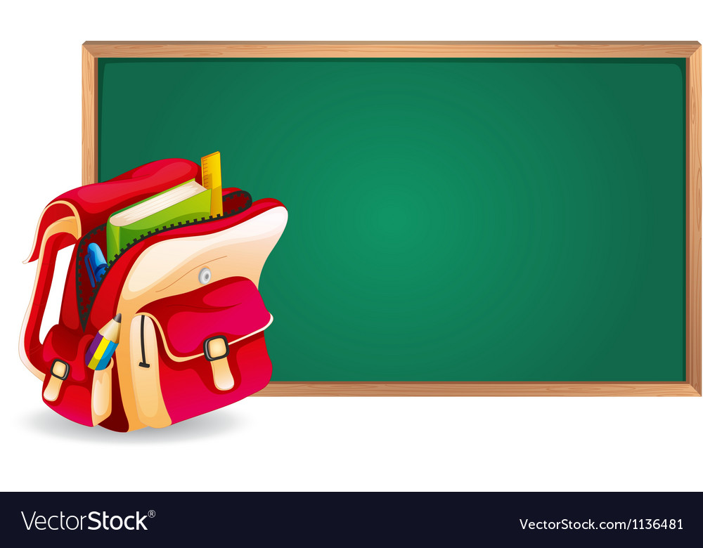 Green board and school bag vector