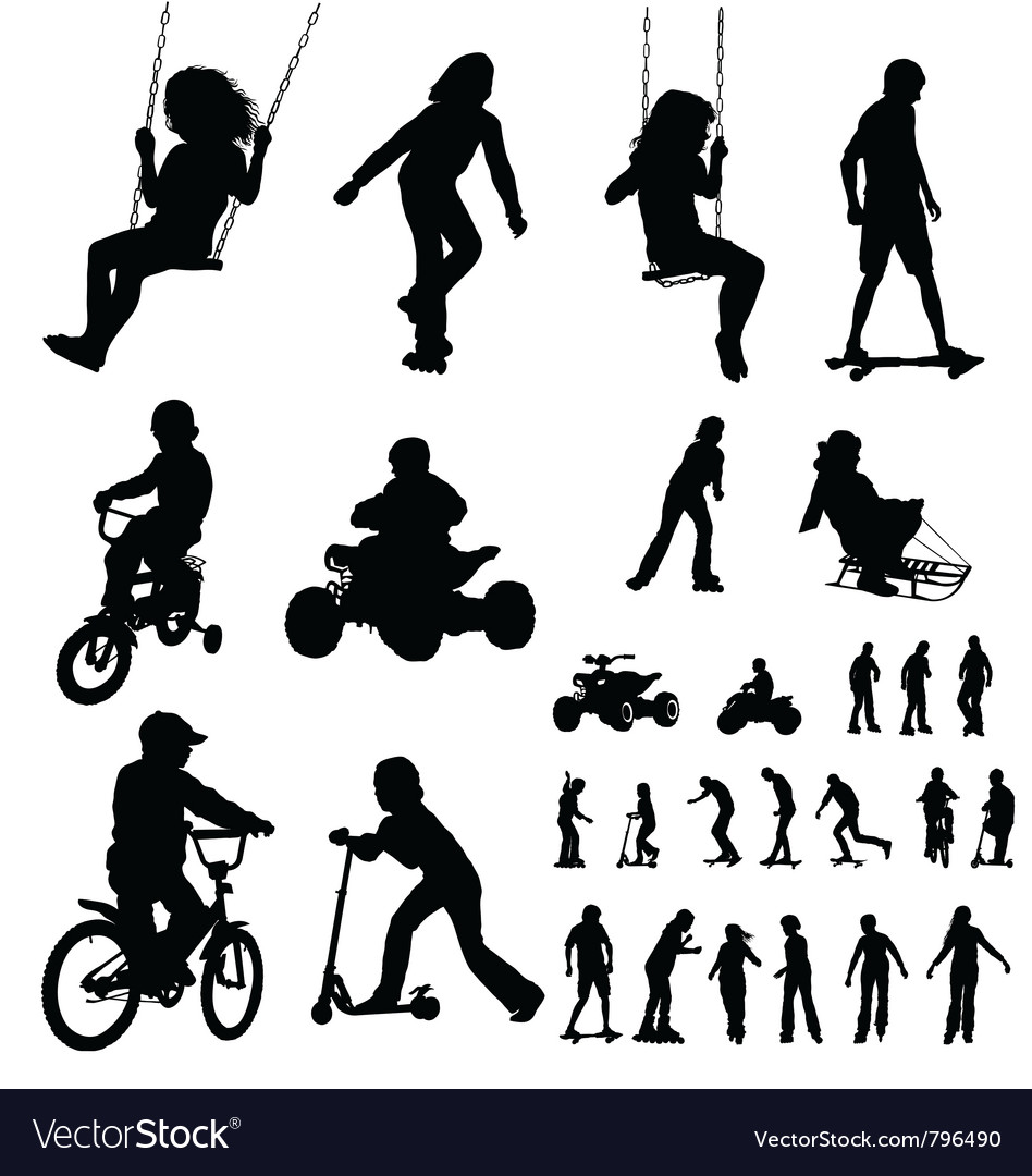 Kids silhouettes vector