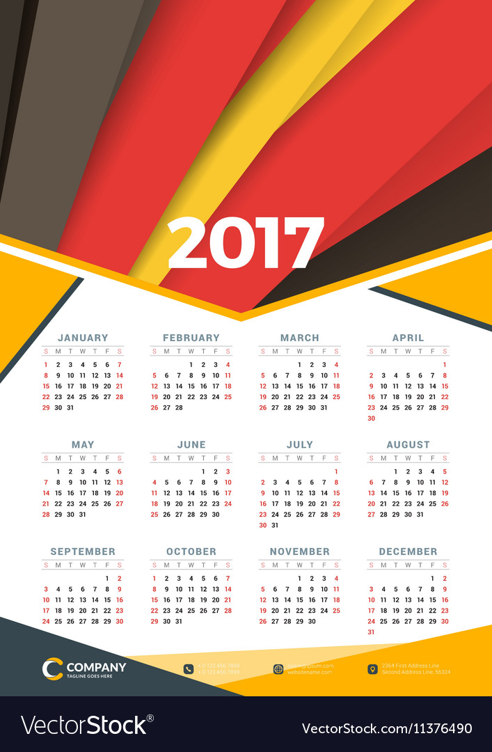 Calendar Poster Design : Wall calendar poster for year design print vector by