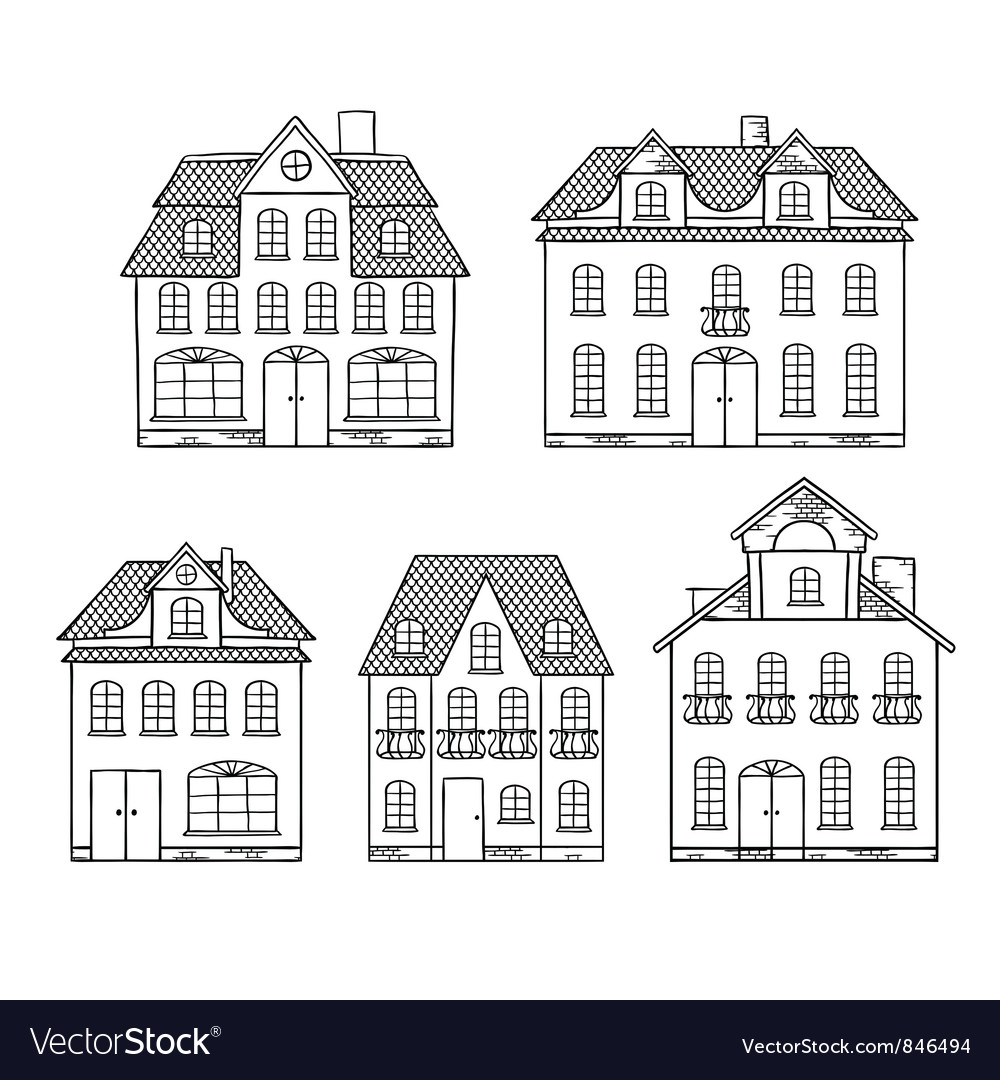 Old hand drawing houses isolated vector