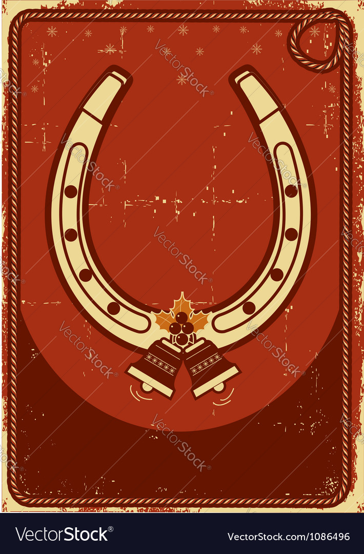 Christmas card background with lucky horseshoe and vector