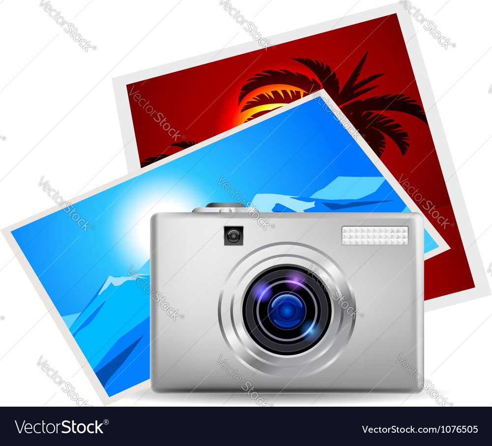 Realistic digital camera vector