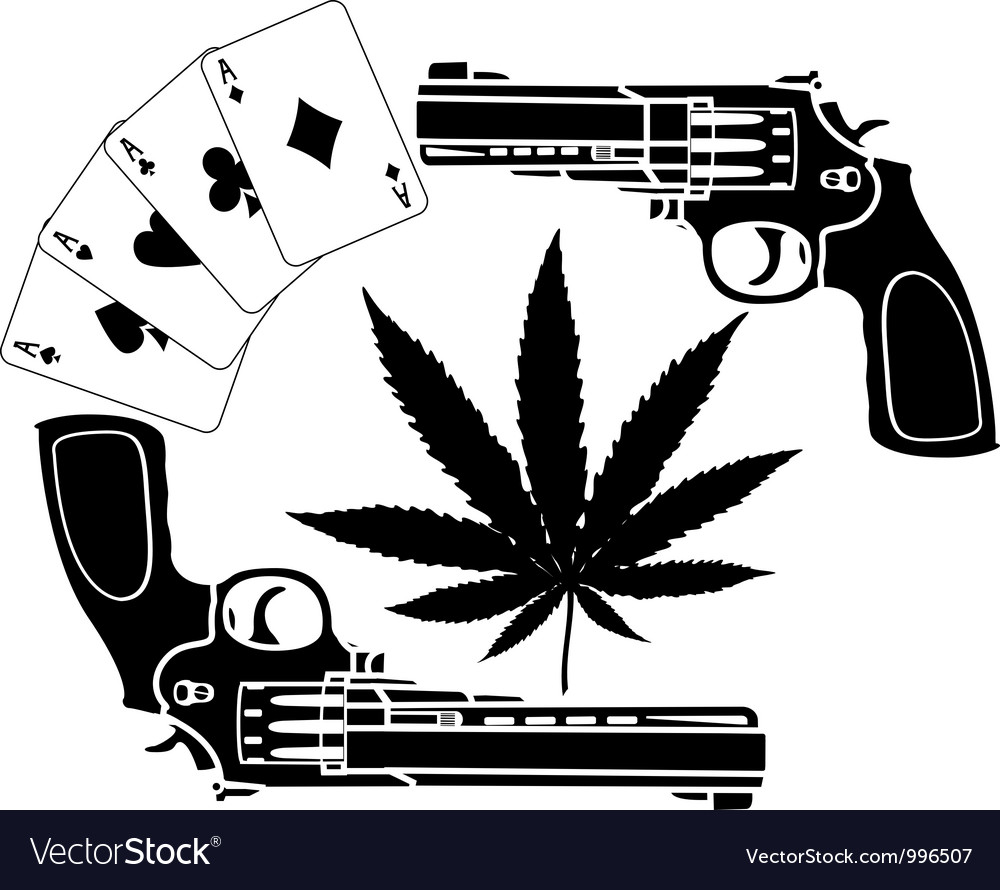 Cards hemp and two pistols stencil vector
