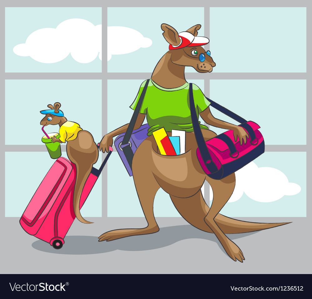 Kangaroo travels with a family vector