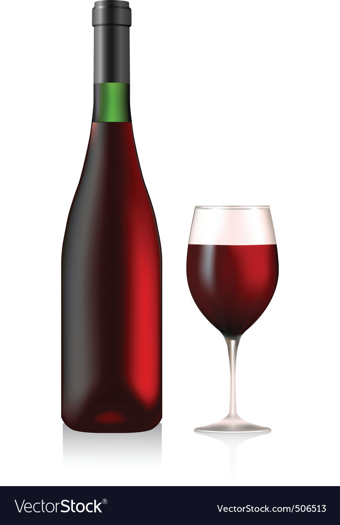 bottle and glass with red wine vector bottle red wine
