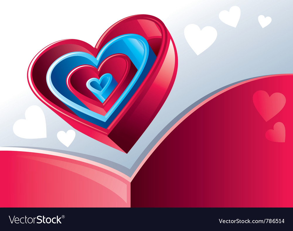 Red and blue hearts vector