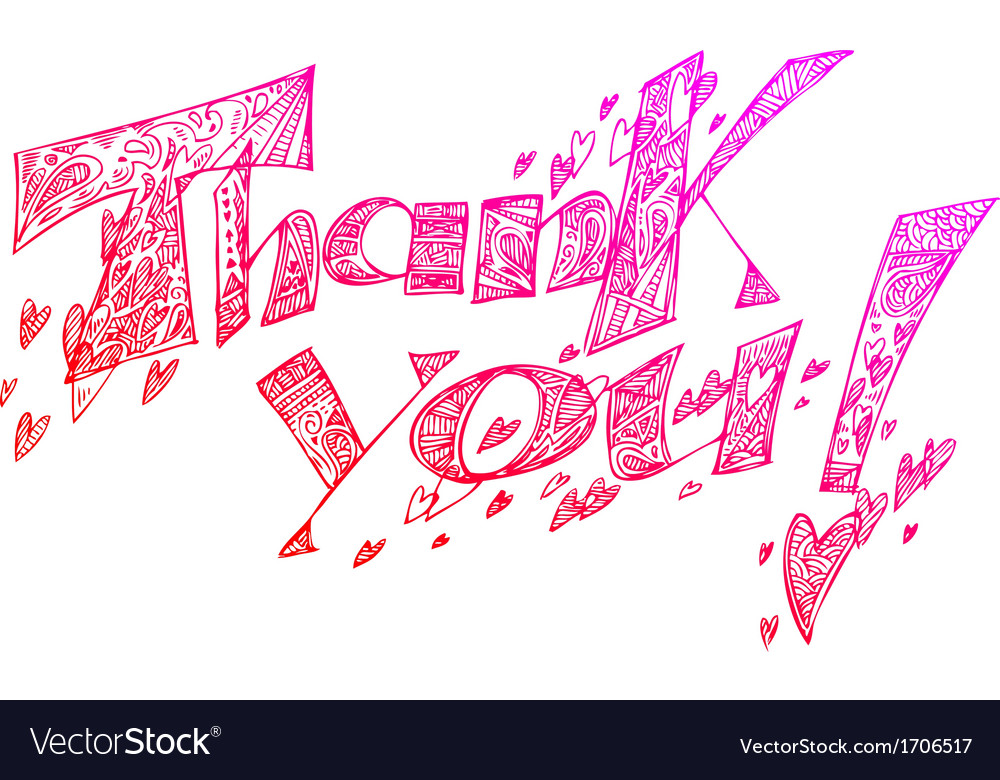 Thank you pink sketchy doodles vector by carlacastagno image