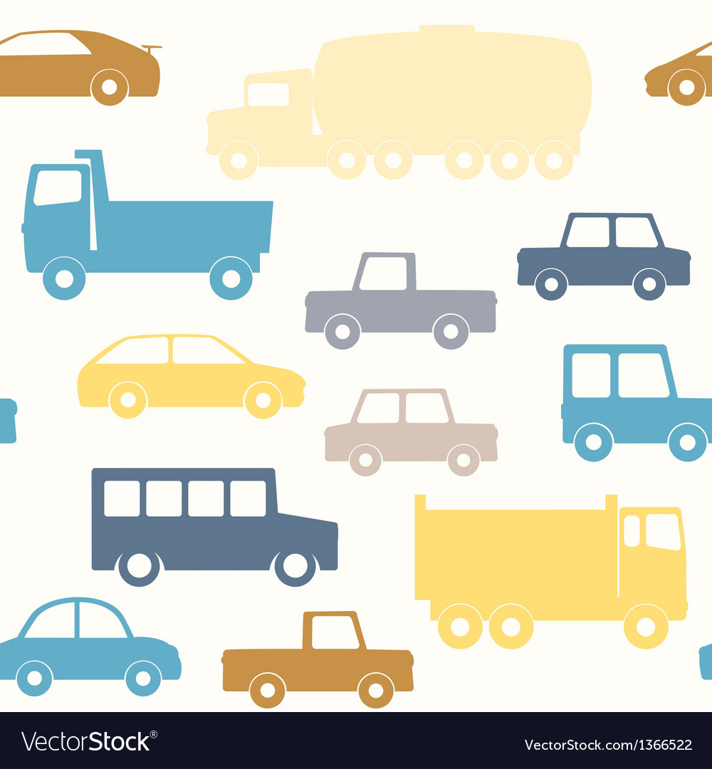 Cars and trucks seamless pattern vector